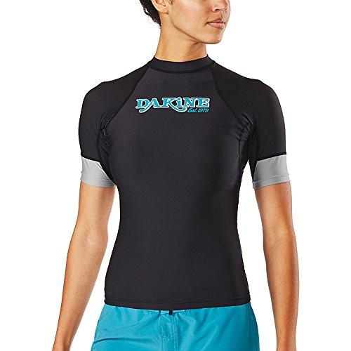 Dakine Womens Flow - Snug Fit Short Sleeve Schnell Dry Leicht Rash Vest Top Black - Geringes Gewicht - 6,5 Unzen verlieren fit Surf Shirt