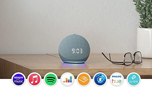 Echo Dot (4. Generation) | Smarter Lautsprecher mit Uhr und Alexa | Blaugrau