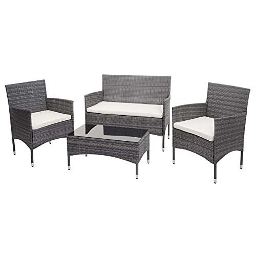 Mendler Poly-Rattan Garnitur HWC-F55, Balkon-/Garten-/Lounge-Set Sofa Sitzgruppe - grau, Kissen Creme