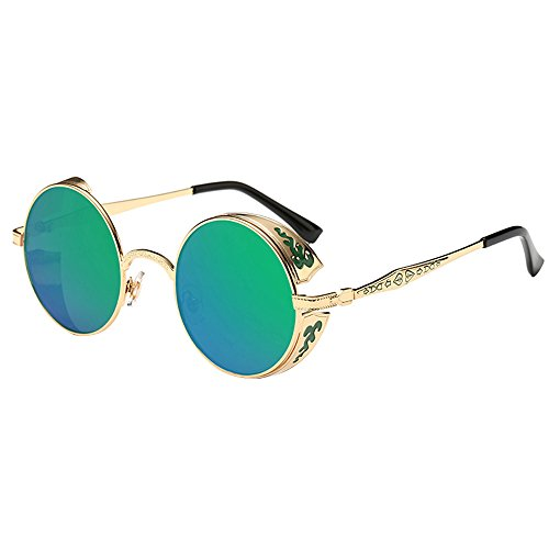 VRTUR Retro Sonnenbrille im Steampunk Stil, runder Metallrahmen, polarisiert, Kleine Rund Verspiegelt Linsen Polarisiert Punk Brille für Damen und Herren(One size,Grün)