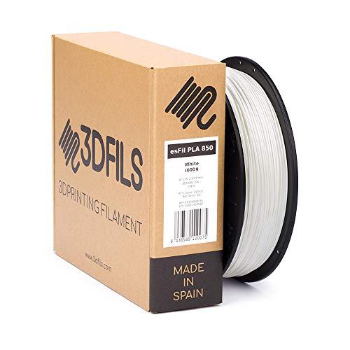 3DFILS - Filamento PLA para impresión 3D esFil PLA INGEO 3D850: 1.75 mm, 1 Kg, Blanco