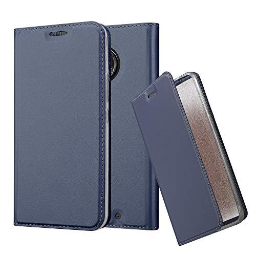 Cadorabo Hülle für Motorola Moto X4 in Classy DUNKEL BLAU - Handyhülle mit Magnetverschluss, Standfunktion & Kartenfach - Hülle Cover Schutzhülle Etui Tasche Book Klapp Style