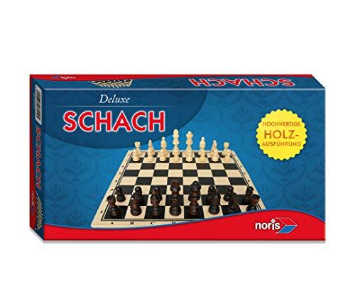 Noris 606108014 Deluxe Schach, der beliebte Spieleklassiker aus Holz mit großen Holzfiguren, auch für unterwegs geeignet, ab 6 Jahren