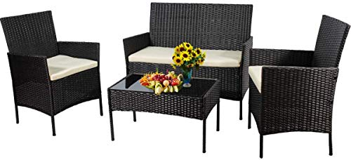 I-Choice 4 Pieces Outdoor Patio Rattan Furniture Sets Chair Wicker Set, Garden Conversation Bistro Sets for Yard, Pool or Backyard (Black and Beige)