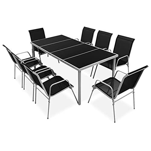 vidaXL Mobilier de Salle à Manger d'Extérieur 9 pcs Salon de Jardin Table et Chaises à Dîner Mobilier de Patio Meubles de Terrasse Acier Noir