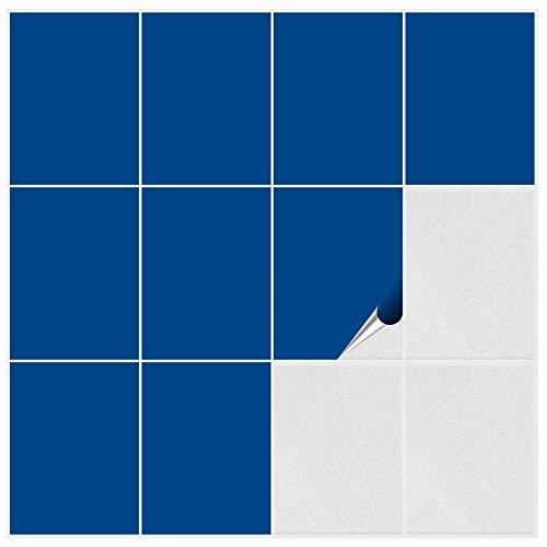 FoLIESEN 2292020 Adesivi per Piastrelle, per Cucina e Bagno, PVC, Blu Genziana Opaco, 60 Pezzi