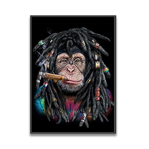 DFRES Gorila con Sucio Trenzas Fuma Pared Arte Animales Pintura Lienzo Arte Gracioso Poster Impresiones Pared Decoracion Cuadro para Dormitorio Salon 50x70cm No Marco