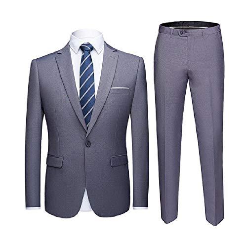 NOBRAND Juego de trajes para hombre de color azul real con pantalones para fiesta, boda, esmoquin para hombre