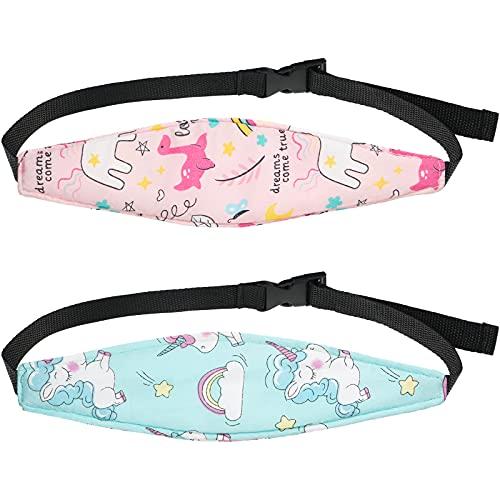 2 Stücke Baby Autositz Kopfstütze Band Gurt Kopfstütze Kinderwagen Sitz Schlafen Kopfstütze Nacken Entlastung Kopfband Stirnband (Blau und Rosa, Einhorn und Delfin)