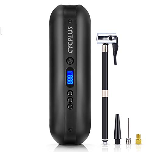 CYCPLUS 150 PSI Tire Pump Electric Compressor Air Pump with Rechargeable Li-ion Battery Portable Air Compressor for Cars, Motorbikes, Balls, Swim Rings and All Bicycles A3 Black