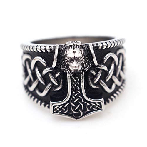 EzzySo Lobo Head Hammer Ring, European and American Fashion Rune Personalidad de los Hombres Dominio de la joyería de Anillo de aleación Retro (2 PCS),A,13