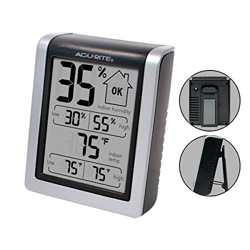 AcuRite 00613 Digital Hygrometer & Indoor Thermometer Pre-Calibrated Humidity Gauge, 3' H x 2.5' W x 1.3' D