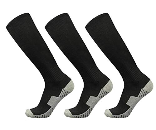 Soccer Football Socks 3 Pairs Team Sport Athletic Knee High Breathable Compression Socks for Adult Youth Kids Boys (Adult, Black 3 Pairs)
