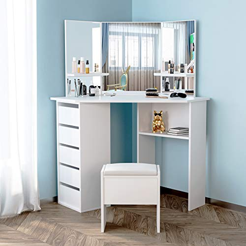 YFMXO White Corner Dressing Table Set Corner Desk With 3 Angle Mirror and 5 Drawers Makeup Desk With Stool With Storage Anity Table for Bedroom Living Room