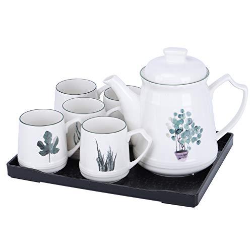 fanquare 8 Piezas Juego de Té de Porcelana con Plantas Verdes Nórdicas, Juego de Café de Cerámica, Servicio de Té para Hogar y Fiesta