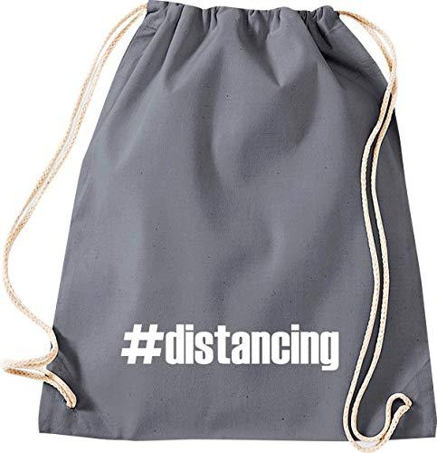 Shirtstown - Bolsa de deporte para el gimnasio, distancing Hashtag Distanzation, la crisis, la cohesión, juntos, situaciones de emergencia, social, agradecimiento, gracias, bolsa de deporte, color gris, tamaño 37 cm x 46 cm