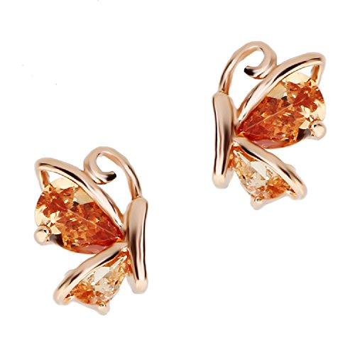 Naranja Mariposas Pendientes con Cristales austríacos de Zirconia 18k Chapado en oro para mujer y niña