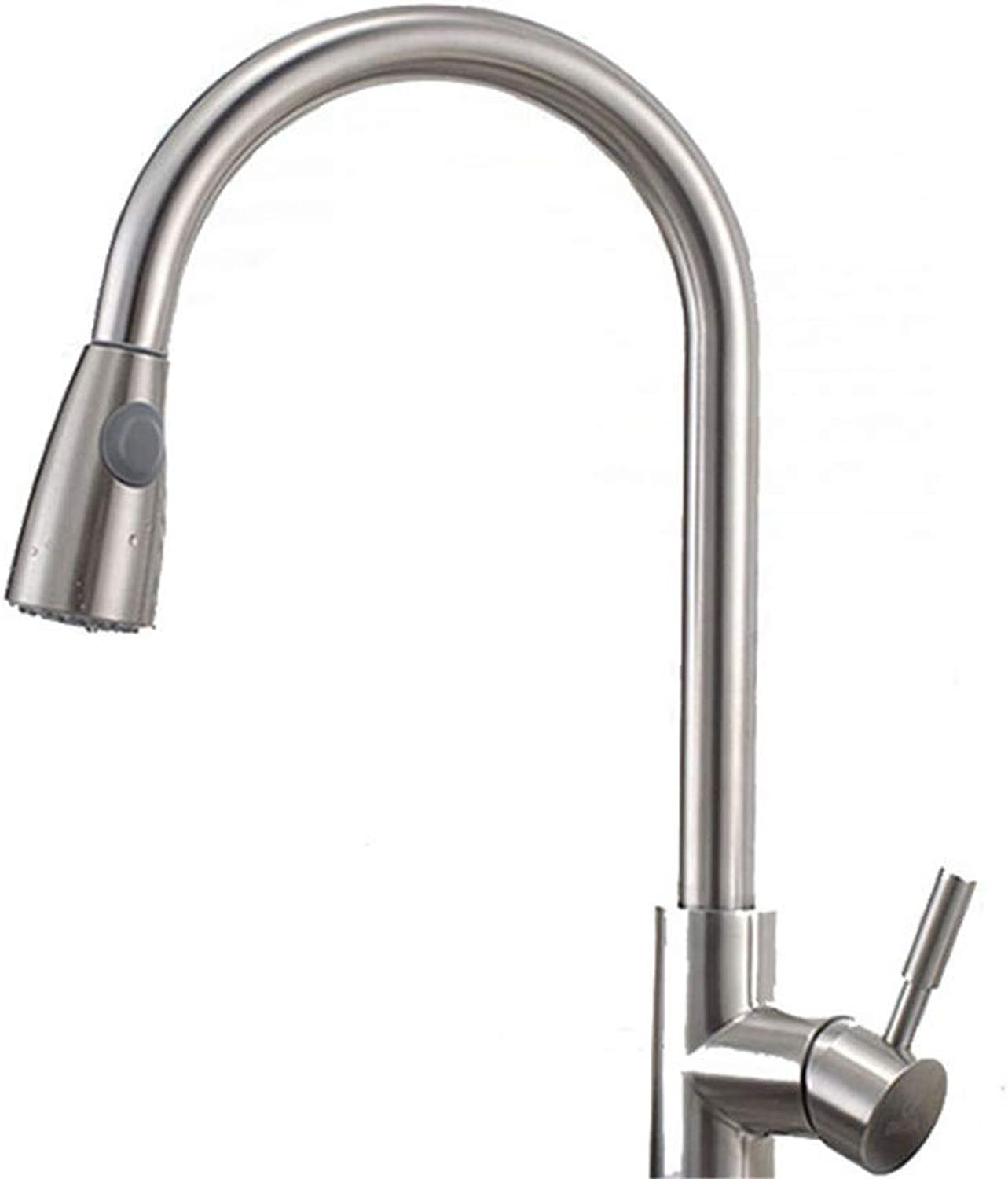 304 Stainless Steel Kitchen Pull-Out tap hot and Cold wash Basin Telescopic tap, Sliver,25  41cm