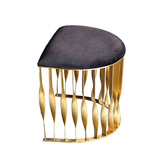 XUSHEN-HU Velvet Footrest Stool Mid Century Modern Luxe Velvet Ottoman Footstool Side Table Removable Metal Leg Easy to Match (Color, Size : 40x52x43cm)