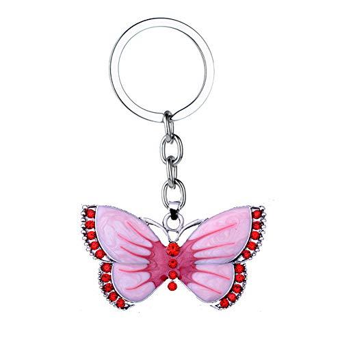 Wimagic 1 llavero con colgante de mariposa con diamantes de imitación, llavero, accesorios para llaves, bolso de mano, decoración de coche 5.5*3cm rosa