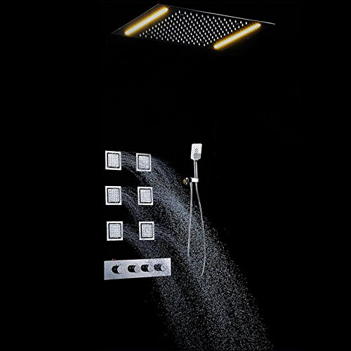 LWQ Großes Bad hochwertige Wand-Thermostatventil Dusche mit 500 * 360mm großen LED-Duschkopf