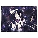 Tapicería de arte de arte de anime tapiz montado en la pared, superpuesto: albedo, manta académica montada en la pared, decoración del hogar, mantel extra grande, dormitorio, sala de estar, dormitorio