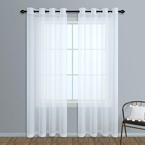 108 Inch Curtains Sheer 2 Panels Grommet Window Treatment Voile Drapes for Living Room Bedroom 9FT 52x108 Inches Long
