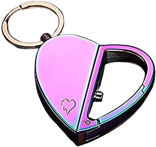 愛の折りたたみ式充電式ライター、ハート型の二重目的変形ライター、キーホルダーシガレットライター、カップルのための金属フレームレスメンズガジェットギフト POIUYH