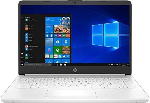 HP 14 14' Laptop Computer, Intel Celeron N4020 up to 2.8GHz, 4GB DDR4 RAM, 64GB eMMC, 802.11AC WiFi, Bluetooth 5, Type-C, Webcam, Snowflake White, Windows 10 S, BROAGE Mousepad, Online Class Ready