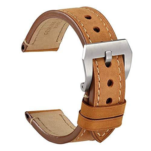 WOCCI 24mm Vintage Leder Herren Uhrenarmband Edelstahl Schnalle, Ersatz Zubehö (Hellbraun)