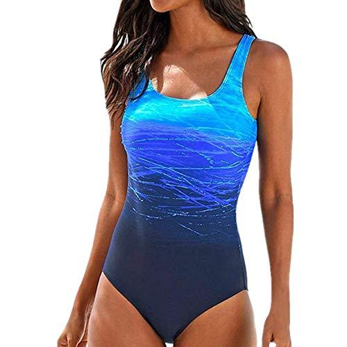 Yczx Badeanzug Damen Push up Bademode Damen Badeanzug Farbverlauf Kreuz Rückseite Einteiler Swimsuit Sport Schnelltrocknend Körperformung Spiel Einteiler Badeanzug M