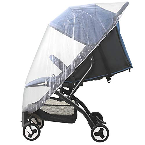 Baby Pram Net, Mosquito Net for Pushchair Travel Cot Universal Size Fly Insect Protection Idéal pour La Maison Ou Les Vacances,White