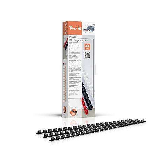Peach PB408-02 Plastikbinderücken DIN A4, 8 mm, 45 Blatt, 100 Stück, schwarz