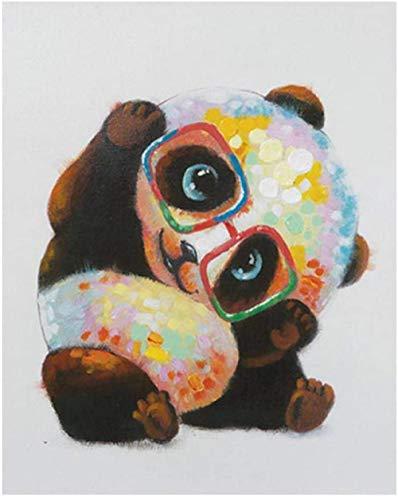 DIY Paint by Numbers - Panda trägt eine Brille Ölgemälde für Erwachsene Anfänger Kit, Kinder Wandkunst Wohnzimmer Schlafzimmer Korridor Dekoration 16x20 Zoll-mit Rahmen