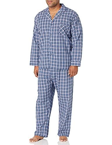Hanes Men's Woven Pajamas Set - X-Large - Blue Plaid
