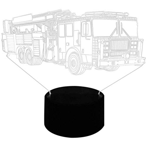 OUPPENG Table Lamp Bedside 3D Fire Engine Table Lamp 7 Colors Changing Fire Truck Car Night Light Sleep Light Fixture Bedroom Decor Kids Gift Reading Lamp DIY