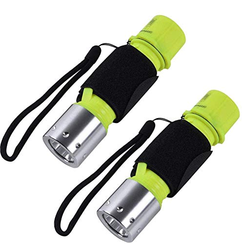Diving Light Submarine Scuba Flashlight with Battery Dive Light Waterproof Underwater Torch for Scuba Diving, Night Snorkeling (Pack 2)