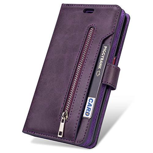 JAWSEU Compatibel met Samsung Galaxy J6 2018 Case Flip Case Magnetische beschermhoes lila