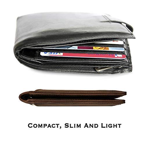 YBONNE RFID Blocking Slim Bifold Wallets for Men, Made of Finest Genuine Leather (Brown)