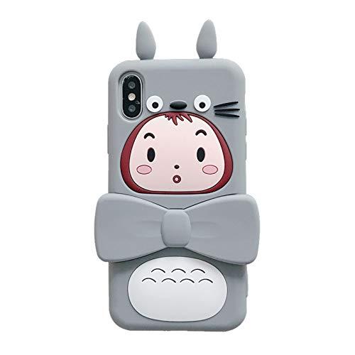 SXMY Funda para iPhone 11 Caja de Teléfono de Niña Totoro de Dibujos Animados Creativos con Soporte Silicona Ultra Thin TPU Cubierta Movil Carcasa Antigolpes Delgado,001,iPhone XR