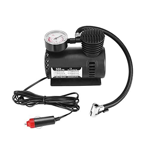 Inflador de neumáticos Mini Kit de compresor de aire eléctrico Inflador eléctrico portátil Negro 12V 300 PSI Mini inflador de neumáticos de coche para bicicleta de bolas