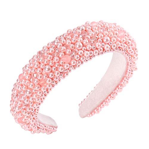 Velvet Padded Rhinestone Embellished Headband - Baroque Padded Crystal Hairband Race Goth Wedding Hair Hoop for Women Rhinestone Headbands (Pink Pearl)