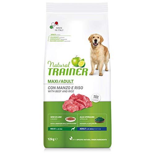 Natural Trainer - Cibo per cani adulti di grande taglia, Alimento Secco con Manzo e Riso, 12 kg