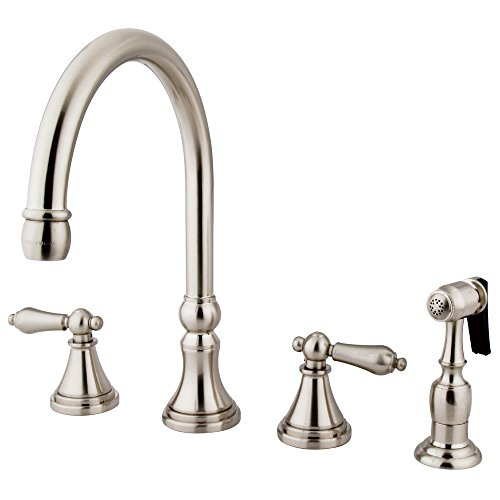 """Elements of Design ES2798ALBS Governor 8"""" to 16"""" Widespread Kitchen Faucet with Brass Sprayer, 8-1/4"""", Brushed Nickel"""