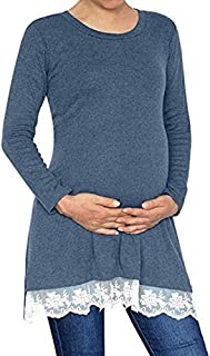 Shirts Long Sleeve Lace Hem Maternity Tunic Top Blouse Pregnant Clothes, Size:XXL(Black) Shirts (Color : Light Blue, Size : M)