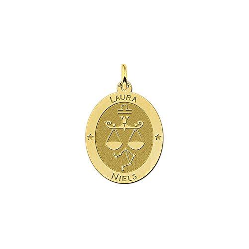 Namesforever ovale hanger van 14 karaat (585) geelgoud | motief weegschaal sterrenbeeld dierenriemteken | gratis gravure op de voorkant