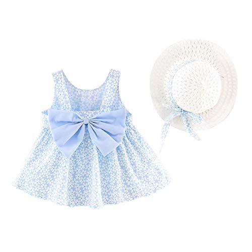 Hatoys Baby Girl Tank Top Dress Toddler Infant Summer Strap Shoulder Short Dress White Floral