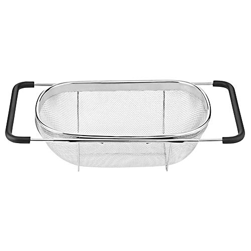 MENGzhuHSA Kitchen Stainless Steel Strainer Mesh Retractable Micro-Perforated Colander Draining Washing Rinsing For Fruits Vegetables Dishwasher for Cooking,straining pasta noodles (Color : A)