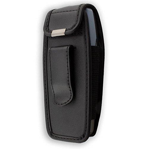 caseroxx Ledertasche mit Gürtelclip für Nokia 3510 3510i aus Echtleder, Handyhülle für Gürtel (mit Sichtfenster aus schmutzabweisender Klarsichtfolie in schwarz)