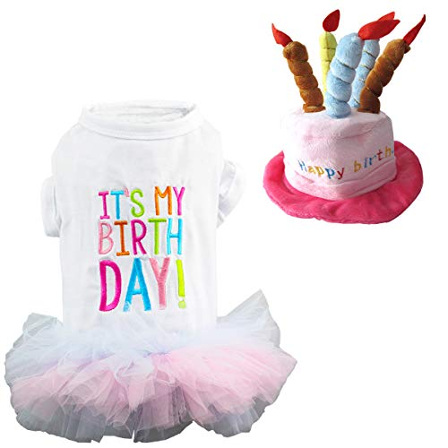 Wiz BBQT Dog Cat Pet Happy Birthday Hat and It's My Birthday Princess Skirt Tutu Dress Multiple Layers